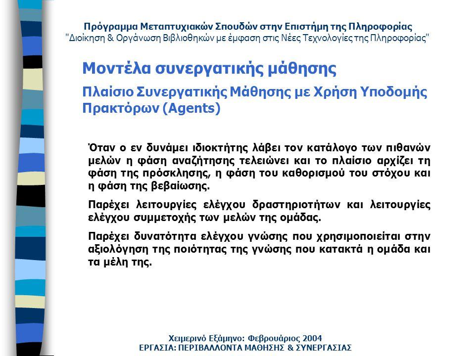 Πρόγραμμα Μεταπτυχιακών Σπουδών στην Επιστήμη της Πληροφορίας Διοίκηση & Οργάνωση Βιβλιοθηκών με έμφαση στις Νέες Τεχνολογίες της Πληροφορίας Χειμερινό Εξάμηνο: Φεβρουάριος 2004 Μοντέλα συνεργατικής μάθησης Πλαίσιο Συνεργατικής Μάθησης με Χρήση Υποδομής Πρακτόρων (Agents) ΕΡΓΑΣΙΑ: ΠΕΡΙΒΑΛΛΟΝΤΑ ΜΑΘΗΣΗΣ & ΣΥΝΕΡΓΑΣΙΑΣ Όταν ο εν δυνάμει ιδιοκτήτης λάβει τον κατάλογο των πιθανών μελών η φάση αναζήτησης τελειώνει και το πλαίσιο αρχίζει τη φάση της πρόσκλησης, η φάση του καθορισμού του στόχου και η φάση της βεβαίωσης.