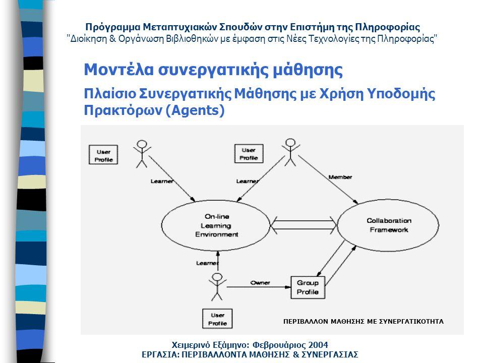Πρόγραμμα Μεταπτυχιακών Σπουδών στην Επιστήμη της Πληροφορίας Διοίκηση & Οργάνωση Βιβλιοθηκών με έμφαση στις Νέες Τεχνολογίες της Πληροφορίας Χειμερινό Εξάμηνο: Φεβρουάριος 2004 Μοντέλα συνεργατικής μάθησης Πλαίσιο Συνεργατικής Μάθησης με Χρήση Υποδομής Πρακτόρων (Agents) ΕΡΓΑΣΙΑ: ΠΕΡΙΒΑΛΛΟΝΤΑ ΜΑΘΗΣΗΣ & ΣΥΝΕΡΓΑΣΙΑΣ ΠΕΡΙΒΑΛΛΟΝ ΜΑΘΗΣΗΣ ΜΕ ΣΥΝΕΡΓΑΤΙΚΟΤΗΤΑ
