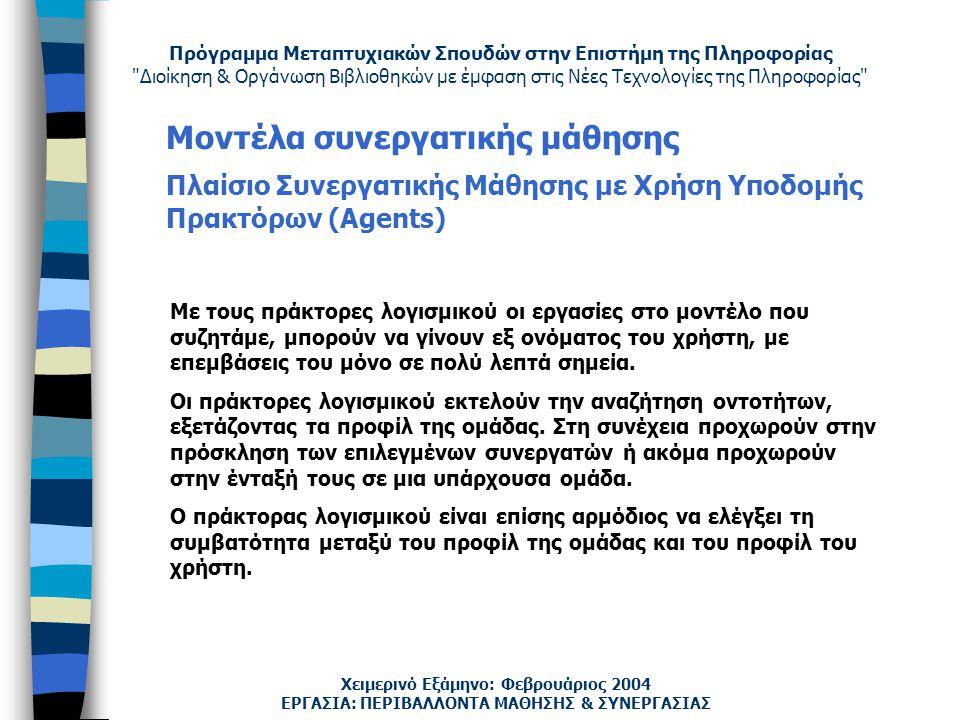 Πρόγραμμα Μεταπτυχιακών Σπουδών στην Επιστήμη της Πληροφορίας Διοίκηση & Οργάνωση Βιβλιοθηκών με έμφαση στις Νέες Τεχνολογίες της Πληροφορίας Χειμερινό Εξάμηνο: Φεβρουάριος 2004 Μοντέλα συνεργατικής μάθησης Πλαίσιο Συνεργατικής Μάθησης με Χρήση Υποδομής Πρακτόρων (Agents) ΕΡΓΑΣΙΑ: ΠΕΡΙΒΑΛΛΟΝΤΑ ΜΑΘΗΣΗΣ & ΣΥΝΕΡΓΑΣΙΑΣ Με τους πράκτορες λογισμικού οι εργασίες στο μοντέλο που συζητάμε, μπορούν να γίνουν εξ ονόματος του χρήστη, με επεμβάσεις του μόνο σε πολύ λεπτά σημεία.