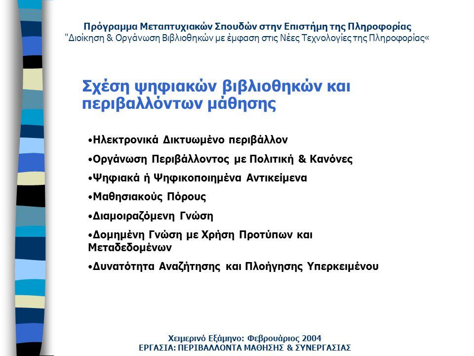 Πρόγραμμα Μεταπτυχιακών Σπουδών στην Επιστήμη της Πληροφορίας Διοίκηση & Οργάνωση Βιβλιοθηκών με έμφαση στις Νέες Τεχνολογίες της Πληροφορίας« Χειμερινό Εξάμηνο: Φεβρουάριος 2004 Σχέση ψηφιακών βιβλιοθηκών και περιβαλλόντων μάθησης Ηλεκτρονικά Δικτυωμένο περιβάλλον Οργάνωση Περιβάλλοντος με Πολιτική & Κανόνες Ψηφιακά ή Ψηφικοποιημένα Αντικείμενα Μαθησιακούς Πόρους Διαμοιραζόμενη Γνώση Δομημένη Γνώση με Χρήση Προτύπων και Μεταδεδομένων Δυνατότητα Αναζήτησης και Πλοήγησης Υπερκειμένου ΕΡΓΑΣΙΑ: ΠΕΡΙΒΑΛΛΟΝΤΑ ΜΑΘΗΣΗΣ & ΣΥΝΕΡΓΑΣΙΑΣ
