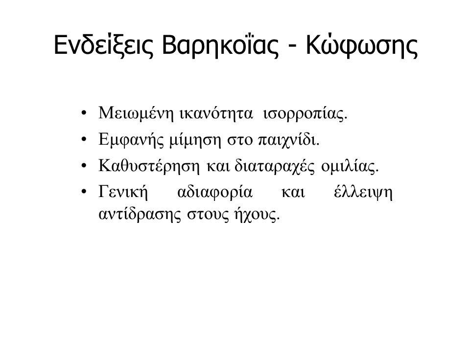 Ενδείξεις Βαρηκοΐας - Κώφωσης Μειωμένη ικανότητα ισορροπίας. Εμφανής μίμηση στο παιχνίδι. Καθυστέρηση και διαταραχές ομιλίας. Γενική αδιαφορία και έλλ