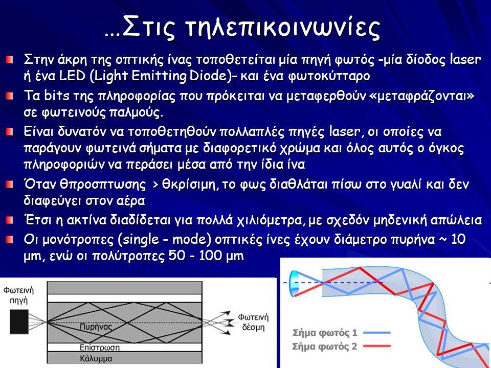 …Στις τηλεπικοινωνίες Στην άκρη της οπτικής ίνας τοποθετείται μία πηγή φωτός -μία δίοδος laser ή ένα LΕD (Light Εmitting Diode)- και ένα φωτοκύτταρο Τα bits της πληροφορίας που πρόκειται να μεταφερθούν «μεταφράζονται» σε φωτεινούς παλμούς.