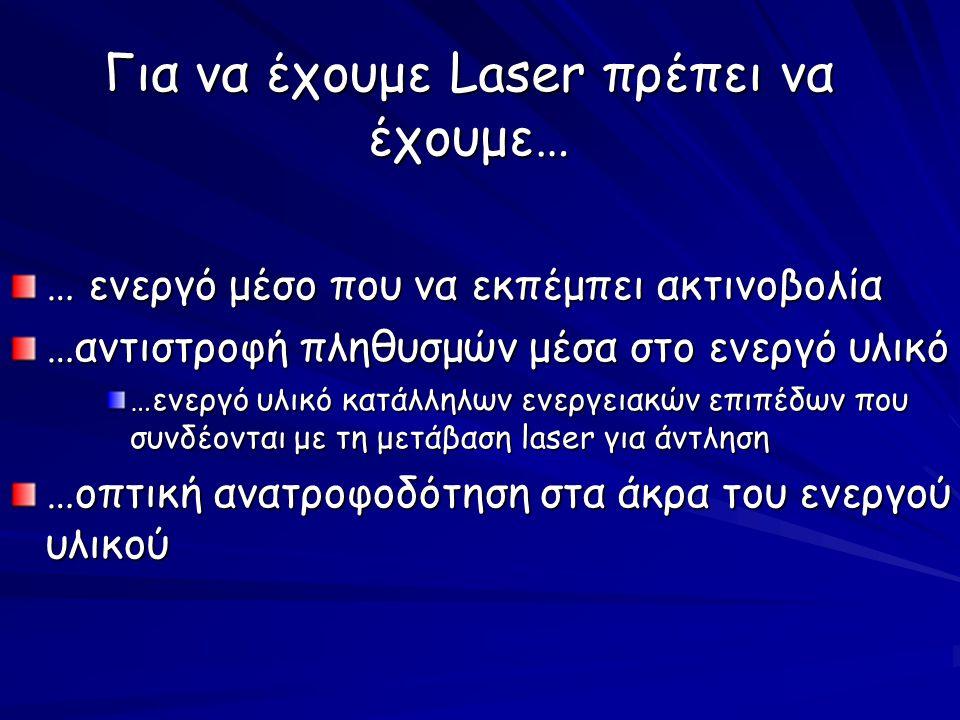 Για να έχουμε Laser πρέπει να έχουμε… … ενεργό μέσο που να εκπέμπει ακτινοβολία …αντιστροφή πληθυσμών μέσα στο ενεργό υλικό …ενεργό υλικό κατάλληλων ενεργειακών επιπέδων που συνδέονται με τη μετάβαση laser για άντληση …οπτική ανατροφοδότηση στα άκρα του ενεργού υλικού