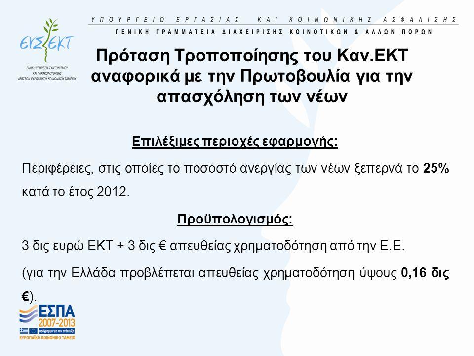 Πρόταση Τροποποίησης του Καν.ΕΚΤ αναφορικά με την Πρωτοβουλία για την απασχόληση των νέων Επιλέξιμες περιοχές εφαρμογής: Περιφέρειες, στις οποίες το π
