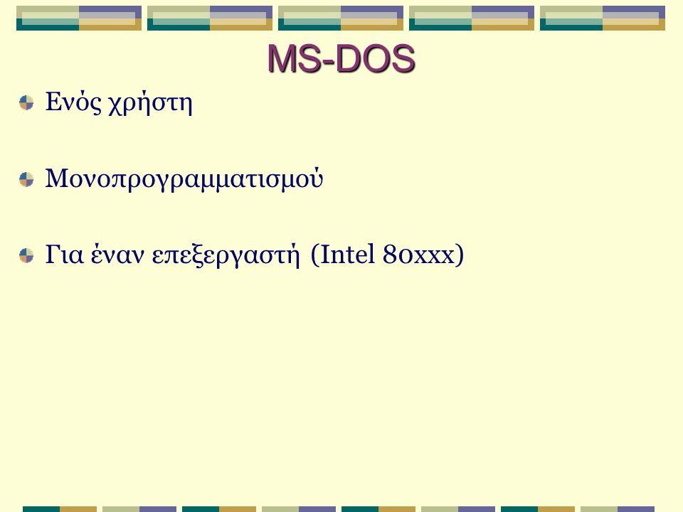 Μονοπρογραμματισμός στο MS-DOS  Παράδειγμα αλυσιδωτής δημιουργίας διεργασιών:  Τ1 : η ενεργή διεργασία είναι ο φλοιός (command.com).