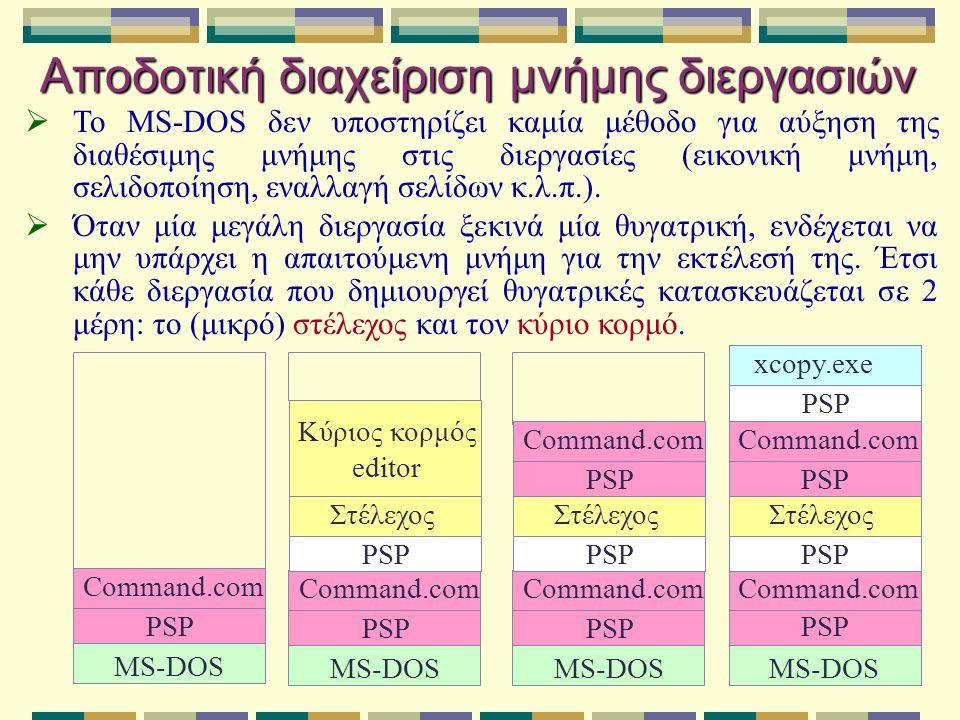 Αποδοτική διαχείριση μνήμης διεργασιών  Το MS-DOS δεν υποστηρίζει καμία μέθοδο για αύξηση της διαθέσιμης μνήμης στις διεργασίες (εικονική μνήμη, σελι