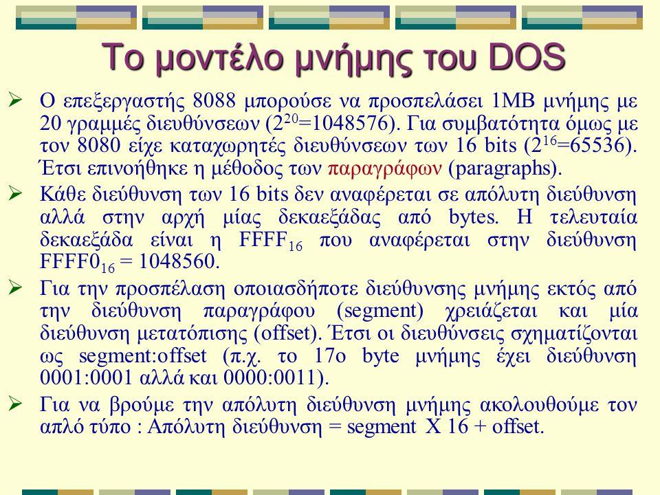 Το μοντέλο μνήμης του DOS  Ο επεξεργαστής 8088 μπορούσε να προσπελάσει 1ΜΒ μνήμης με 20 γραμμές διευθύνσεων (2 20 =1048576). Για συμβατότητα όμως με