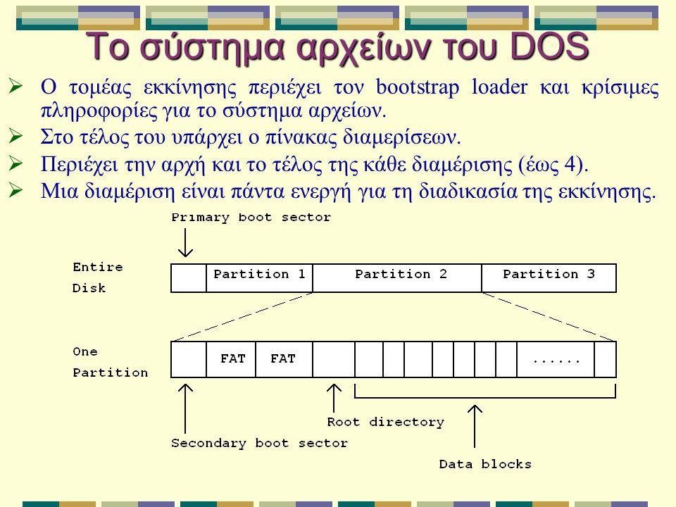 Το σύστημα αρχείων του DOS  Ο τομέας εκκίνησης περιέχει τον bootstrap loader και κρίσιμες πληροφορίες για το σύστημα αρχείων.  Στο τέλος του υπάρχει