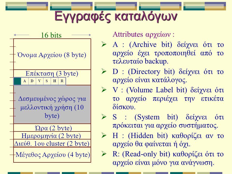 Εγγραφές καταλόγων Ώρα (2 byte) Ημερομηνία (2 byte) Διεύθ. 1ου cluster (2 byte) Μέγεθος Αρχείου (4 byte) Δεσμευμένος χώρος για μελλοντική χρήση (10 by