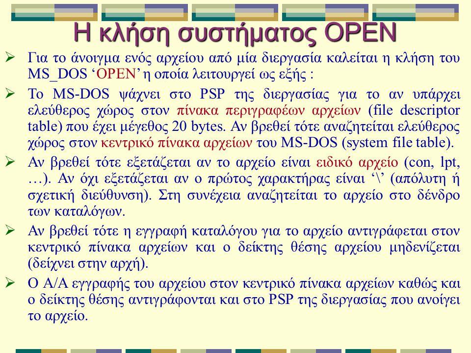 Η κλήση συστήματος OPEN  Για το άνοιγμα ενός αρχείου από μία διεργασία καλείται η κλήση του MS_DOS 'OPEN' η οποία λειτουργεί ως εξής :  Το MS-DOS ψά