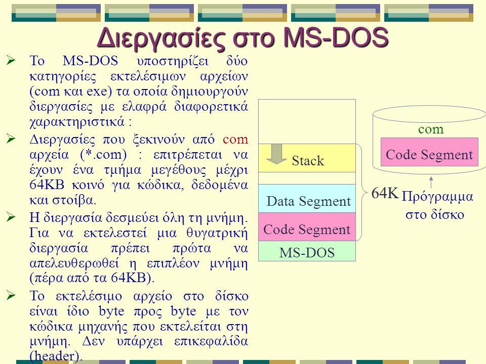 Διεργασίες στο MS-DOS  Το MS-DOS υποστηρίζει δύο κατηγορίες εκτελέσιμων αρχείων (com και exe) τα οποία δημιουργούν διεργασίες με ελαφρά διαφορετικά χ