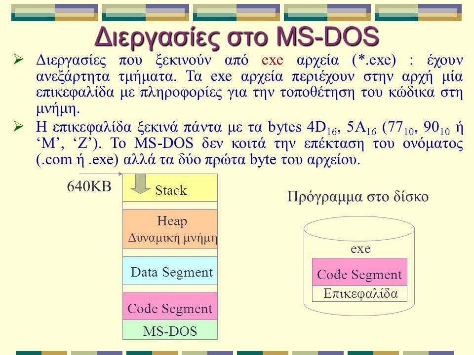 Διεργασίες στο MS-DOS  Διεργασίες που ξεκινούν από exe αρχεία (*.exe) : έχουν ανεξάρτητα τμήματα. Τα exe αρχεία περιέχουν στην αρχή μία επικεφαλίδα μ