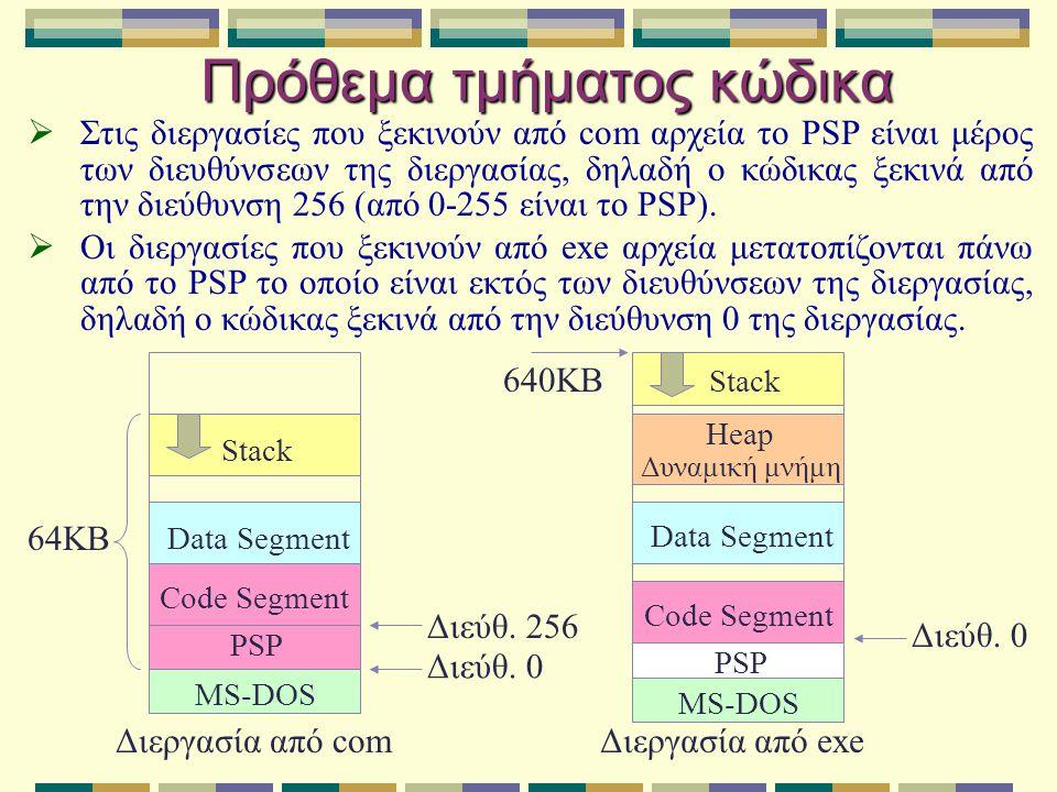 Αποδοτική διαχείριση μνήμης διεργασιών  Το MS-DOS δεν υποστηρίζει καμία μέθοδο για αύξηση της διαθέσιμης μνήμης στις διεργασίες (εικονική μνήμη, σελιδοποίηση, εναλλαγή σελίδων κ.λ.π.).