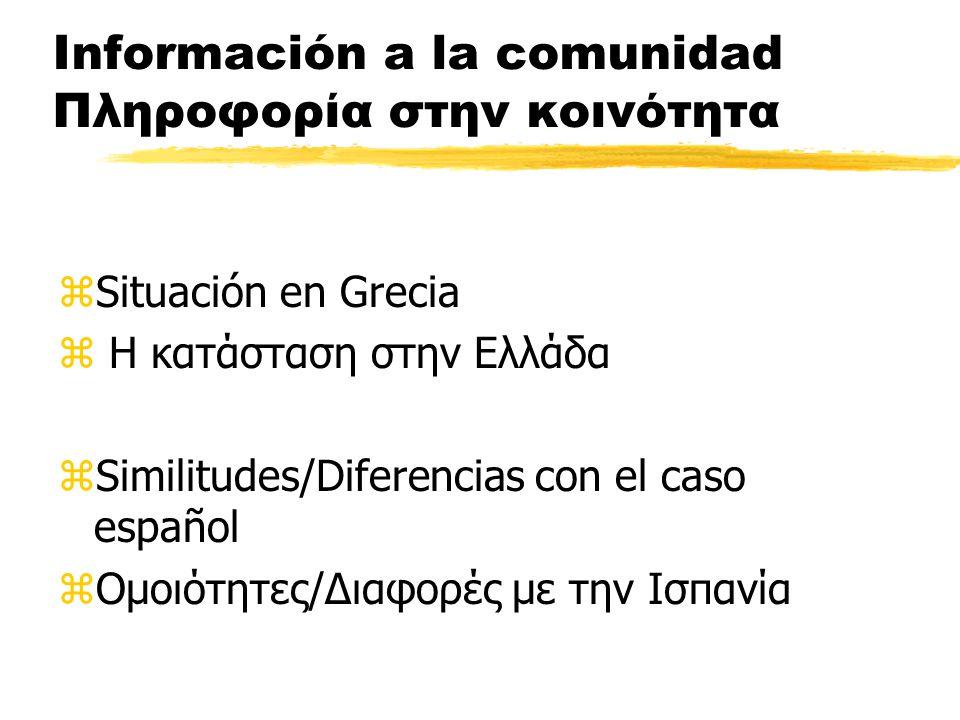 Información a la comunidad Πληροφορία στην κοινότητα zSituación en Grecia z Η κατάσταση στην Ελλάδα zSimilitudes/Diferencias con el caso español zΟμοιότητες/Διαφορές με την Ισπανία