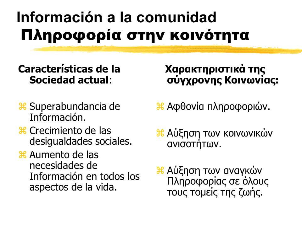 Información a la comunidad Πληροφορία στην κοινότητα Características de la Sociedad actual: zSuperabundancia de Información.