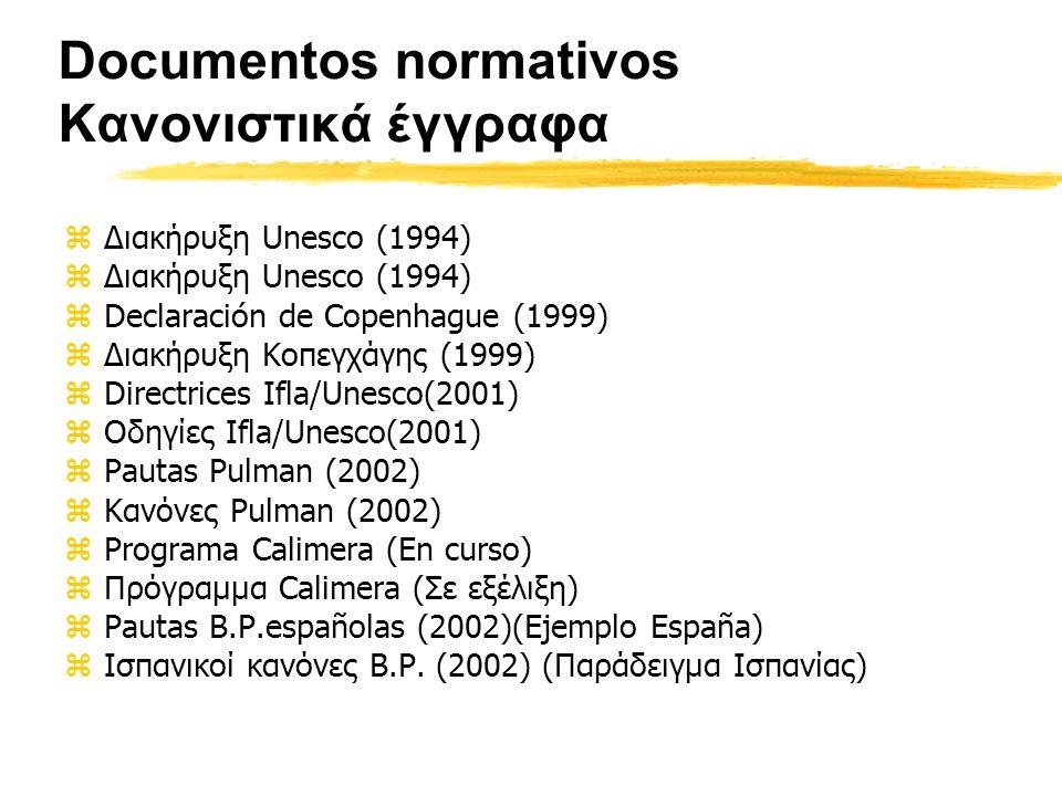 Documentos normativos Κανονιστικά έγγραφα zΔιακήρυξη Unesco (1994) zDeclaración de Copenhague (1999) zΔιακήρυξη Κοπεγχάγης (1999) zDirectrices Ifla/Unesco(2001) zΟδηγίες Ifla/Unesco(2001) zPautas Pulman (2002) zΚανόνες Pulman (2002) zPrograma Calimera (En curso) zΠρόγραμμα Calimera (Σε εξέλιξη) zPautas B.P.españolas (2002)(Ejemplo España) zΙσπανικοί κανόνες Β.Ρ.