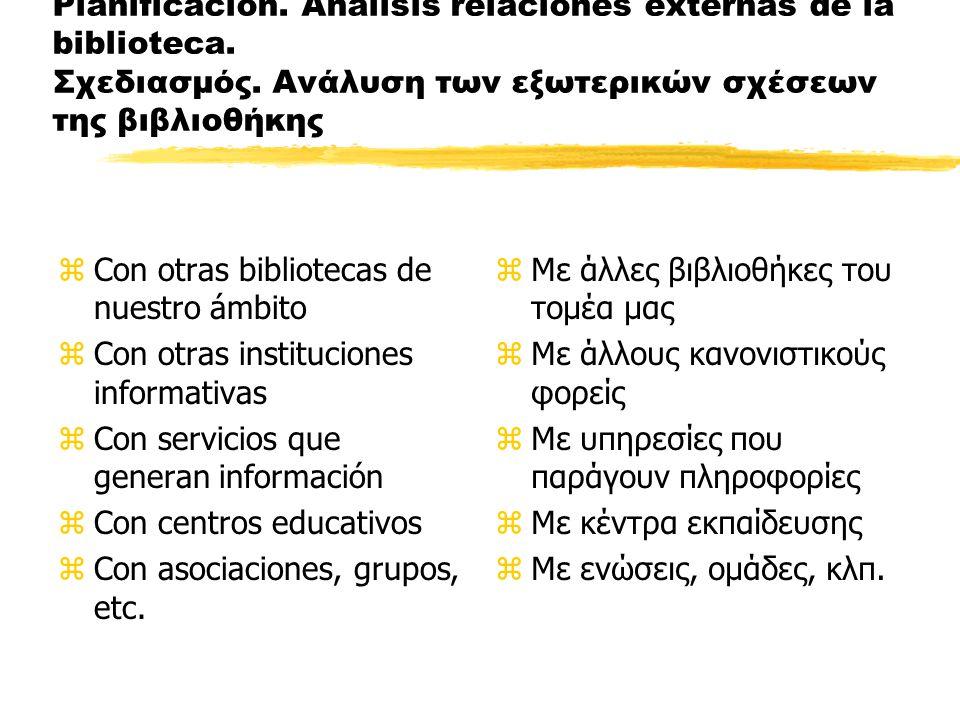 Planificación. Análisis relaciones externas de la biblioteca.