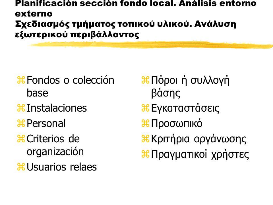 Planificación sección fondo local. Análisis entorno externo Σχεδιασμός τμήματος τοπικού υλικού.