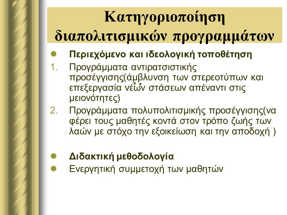 Κατηγοριοποίηση διαπολιτισμικών προγραμμάτων Περιεχόμενο και ιδεολογική τοποθέτηση 1.Προγράμματα αντιρατσιστικής προσέγγισης(άμβλυνση των στερεοτύπων