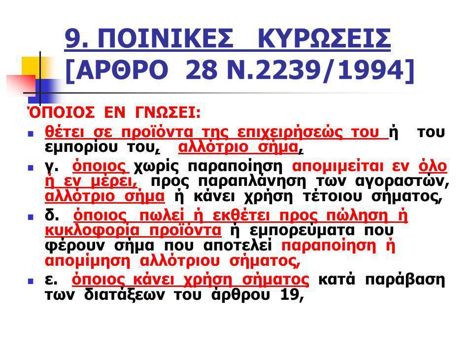10.ΠΟΙΝΙΚΕΣ ΚΥΡΩΣΕΙΣ [ΑΡΘΡΟ 28 Ν.2239/1994] στ.