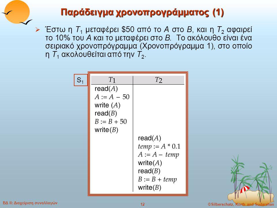 ©Silberschatz, Korth and Sudarshan12 ΒΔ ΙΙ: Διαχείριση συναλλαγών Παράδειγμα χρονοπρογράμματος (1)  Έστω η T 1 μεταφέρει $50 από το A στο B, και η T