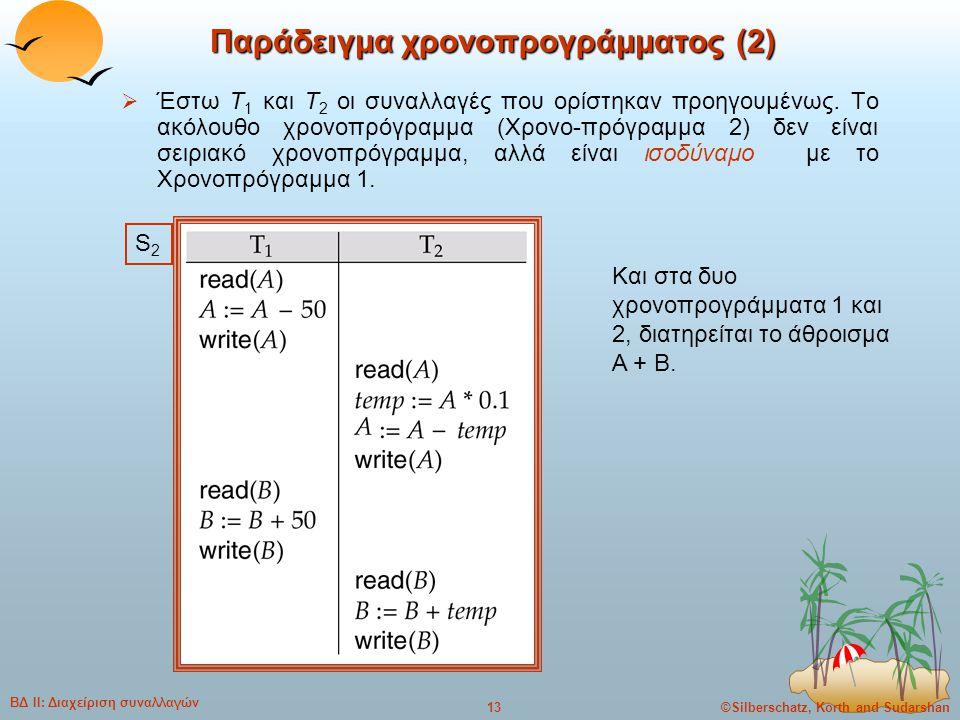 ©Silberschatz, Korth and Sudarshan13 ΒΔ ΙΙ: Διαχείριση συναλλαγών Παράδειγμα χρονοπρογράμματος (2)  Έστω T 1 και T 2 οι συναλλαγές που ορίστηκαν προη