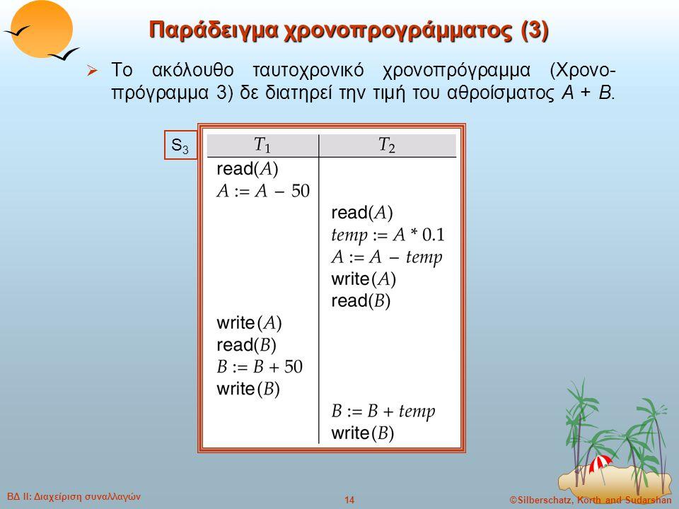 ©Silberschatz, Korth and Sudarshan14 ΒΔ ΙΙ: Διαχείριση συναλλαγών Παράδειγμα χρονοπρογράμματος (3)  Το ακόλουθο ταυτοχρονικό χρονοπρόγραμμα (Χρονο- π