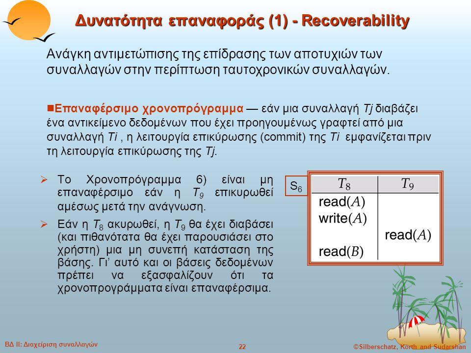 ©Silberschatz, Korth and Sudarshan22 ΒΔ ΙΙ: Διαχείριση συναλλαγών Δυνατότητα επαναφοράς (1) - Recoverability  Το Χρονοπρόγραμμα 6) είναι μη επαναφέρσ