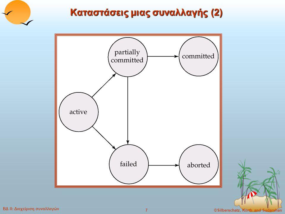 ©Silberschatz, Korth and Sudarshan8 ΒΔ ΙΙ: Διαχείριση συναλλαγών Υλοποίηση της ατομικότητας και της μονιμότητας (1)  Το τμήμα διαχείρισης επαναφοράς (recovery manager) ενός συστήματος βάσης δεδομένων υλοποιεί την υποστήριξη της ατομικότητας και της μονιμότητας.
