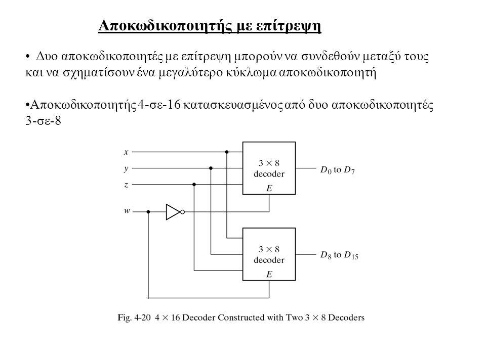 Αποκωδικοποιητής με επίτρεψη Δυο αποκωδικοποιητές με επίτρεψη μπορούν να συνδεθούν μεταξύ τους και να σχηματίσουν ένα μεγαλύτερο κύκλωμα αποκωδικοποιη