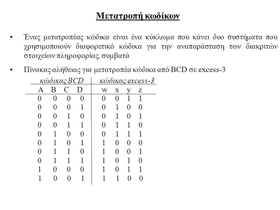 Μετατροπή κωδίκων Ένας μετατροπέας κώδικα είναι ένα κύκλωμα που κάνει δυο συστήματα που χρησιμοποιούν διαφορετικό κώδικα για την αναπαράσταση των διακ