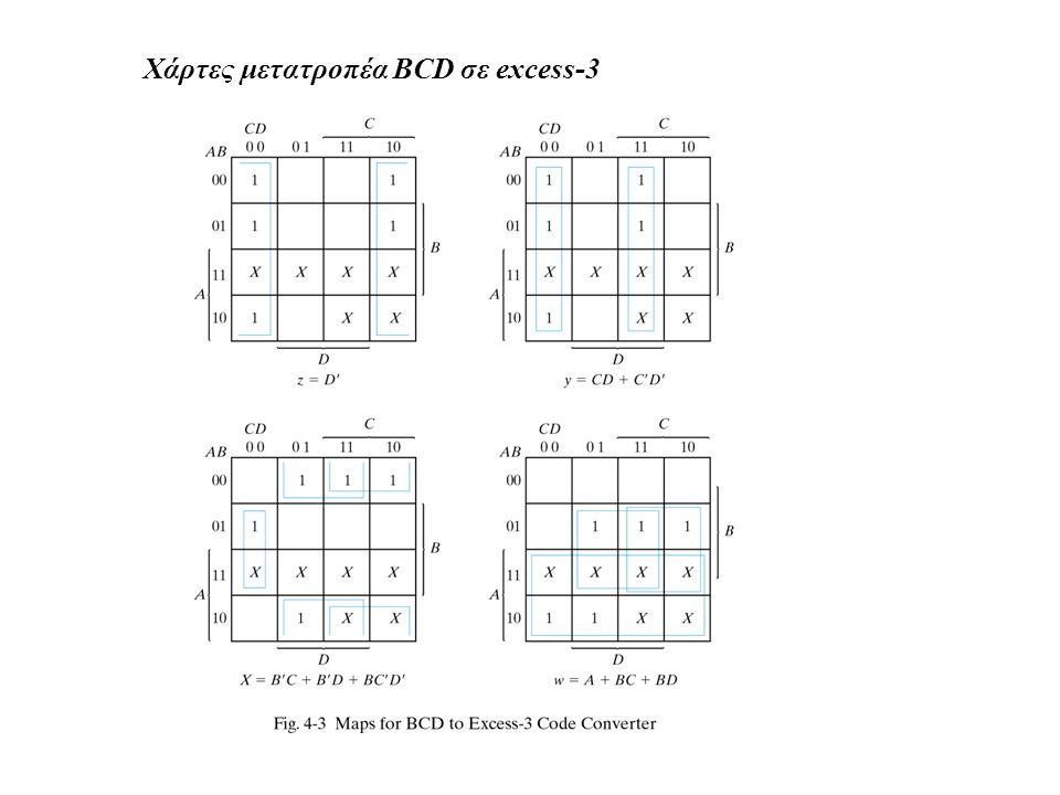 Χάρτες μετατροπέα BCD σε excess-3
