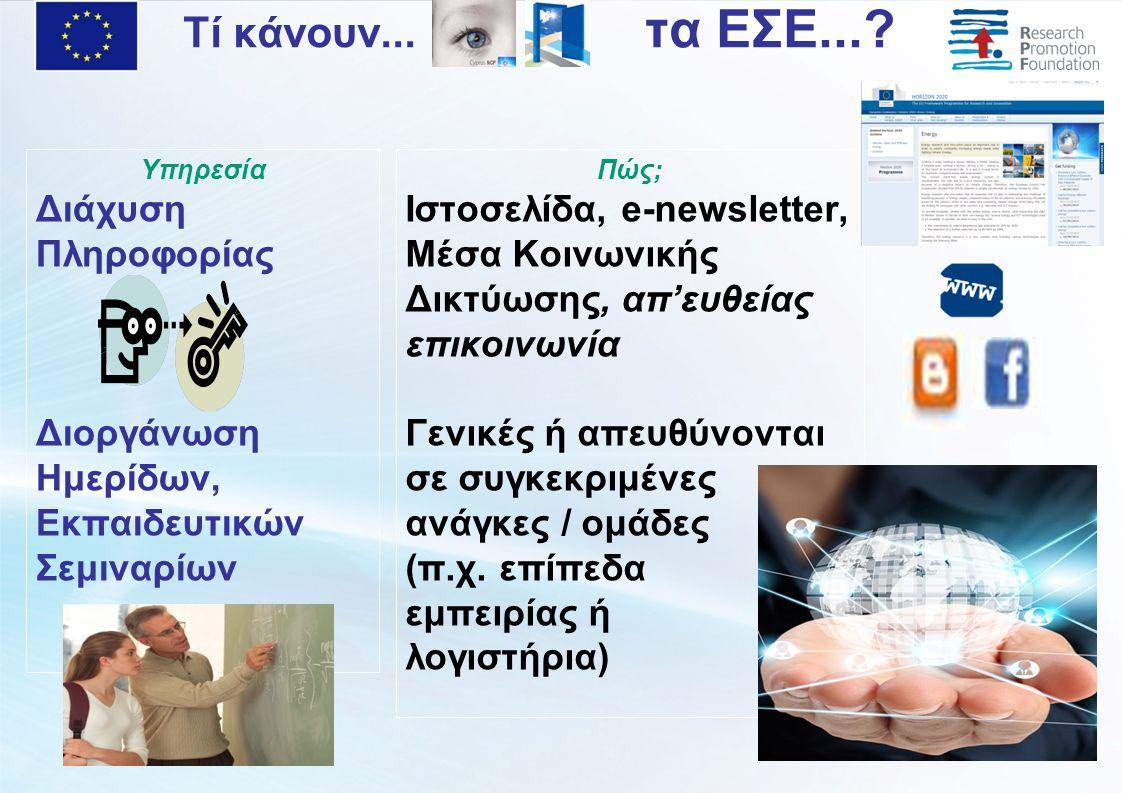 Υπηρεσία Διάχυση Πληροφορίας Διοργάνωση Ημερίδων, Εκπαιδευτικών Σεμιναρίων Πώς; Ιστοσελίδα, e-newsletter, Μέσα Κοινωνικής Δικτύωσης, απ'ευθείας επικοινωνία Γενικές ή απευθύνονται σε συγκεκριμένες ανάγκες / ομάδες (π.χ.