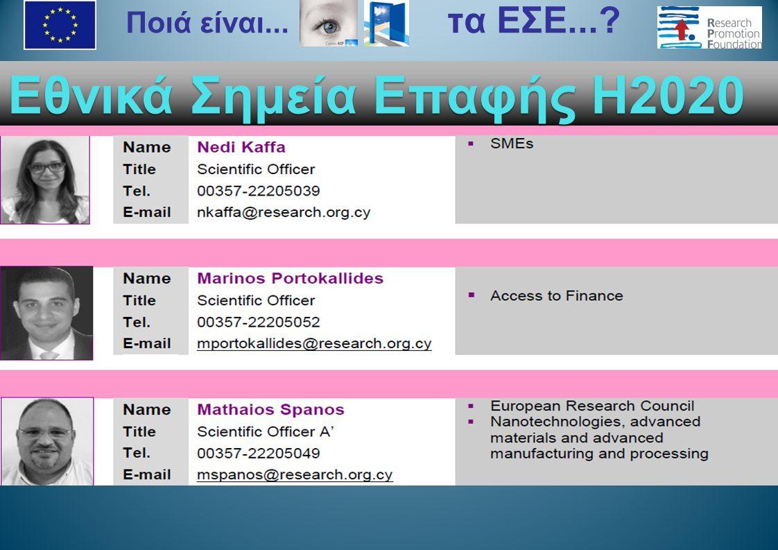 Εθνικά Σημεία Επαφής H2020 Ποιά είναι... τα ΕΣΕ...