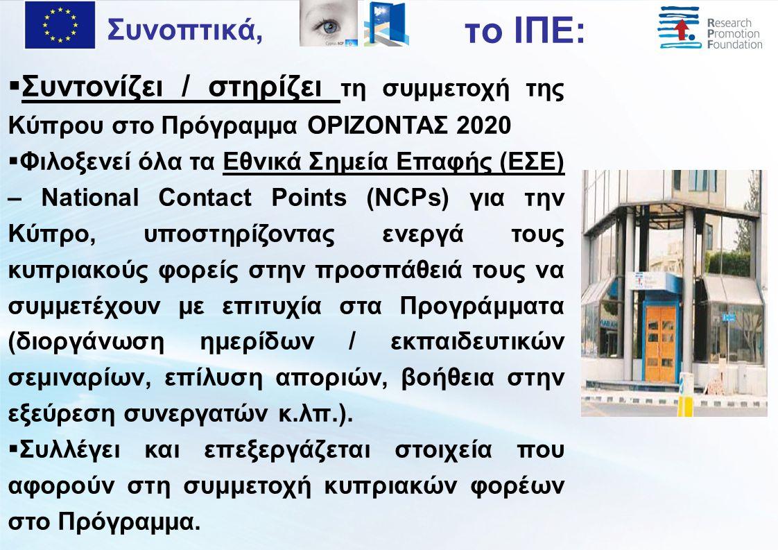  Συντονίζει / στηρίζει τη συμμετοχή της Κύπρου στο Πρόγραμμα ΟΡΙΖΟΝΤΑΣ 2020  Φιλοξενεί όλα τα Εθνικά Σημεία Επαφής (ΕΣΕ) – National Contact Points (NCPs) για την Κύπρο, υποστηρίζοντας ενεργά τους κυπριακούς φορείς στην προσπάθειά τους να συμμετέχουν με επιτυχία στα Προγράμματα (διοργάνωση ημερίδων / εκπαιδευτικών σεμιναρίων, επίλυση αποριών, βοήθεια στην εξεύρεση συνεργατών κ.λπ.).