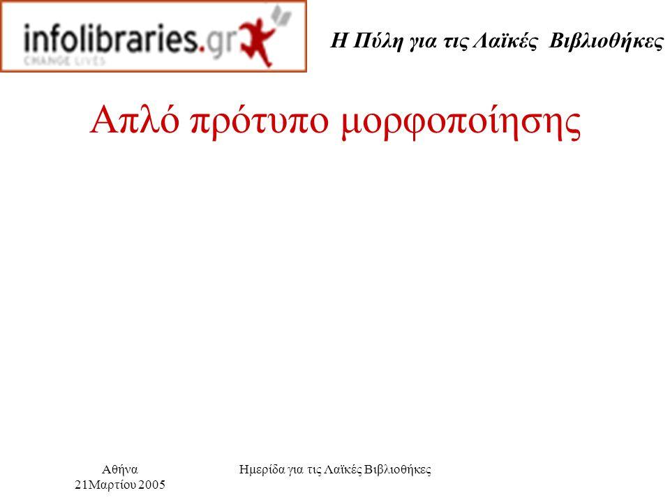 Η Πύλη για τις Λαϊκές Βιβλιοθήκες Αθήνα 21Μαρτίου 2005 Ημερίδα για τις Λαϊκές Βιβλιοθήκες Απλό πρότυπο μορφοποίησης