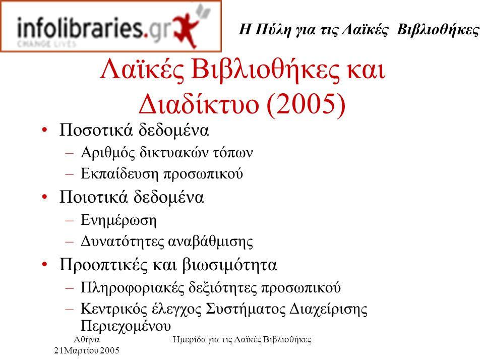 Η Πύλη για τις Λαϊκές Βιβλιοθήκες Αθήνα 21Μαρτίου 2005 Ημερίδα για τις Λαϊκές Βιβλιοθήκες Λαϊκές Βιβλιοθήκες και Διαδίκτυο (2005) Ποσοτικά δεδομένα –Αριθμός δικτυακών τόπων –Εκπαίδευση προσωπικού Ποιοτικά δεδομένα –Ενημέρωση –Δυνατότητες αναβάθμισης Προοπτικές και βιωσιμότητα –Πληροφοριακές δεξιότητες προσωπικού –Κεντρικός έλεγχος Συστήματος Διαχείρισης Περιεχομένου