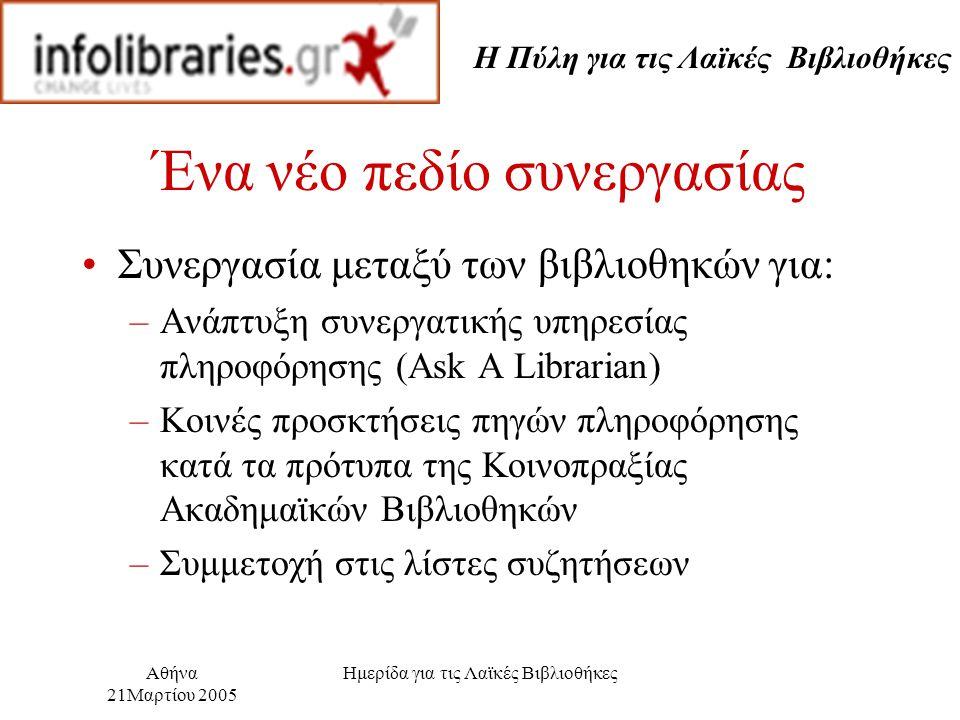 Η Πύλη για τις Λαϊκές Βιβλιοθήκες Αθήνα 21Μαρτίου 2005 Ημερίδα για τις Λαϊκές Βιβλιοθήκες Ένα νέο πεδίο συνεργασίας Συνεργασία μεταξύ των βιβλιοθηκών για: –Ανάπτυξη συνεργατικής υπηρεσίας πληροφόρησης (Ask A Librarian) –Κοινές προσκτήσεις πηγών πληροφόρησης κατά τα πρότυπα της Κοινοπραξίας Ακαδημαϊκών Βιβλιοθηκών –Συμμετοχή στις λίστες συζητήσεων