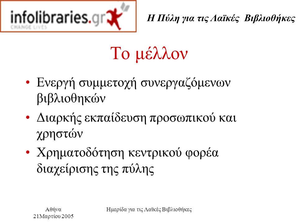 Η Πύλη για τις Λαϊκές Βιβλιοθήκες Αθήνα 21Μαρτίου 2005 Ημερίδα για τις Λαϊκές Βιβλιοθήκες Το μέλλον Ενεργή συμμετοχή συνεργαζόμενων βιβλιοθηκών Διαρκής εκπαίδευση προσωπικού και χρηστών Χρηματοδότηση κεντρικού φορέα διαχείρισης της πύλης