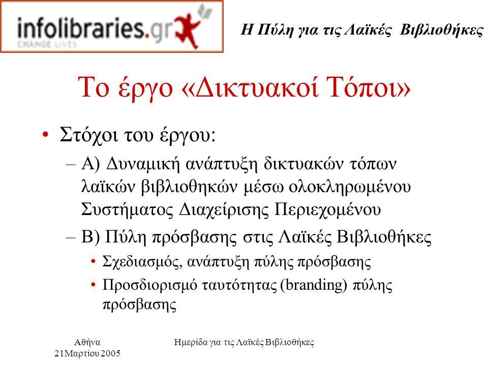Η Πύλη για τις Λαϊκές Βιβλιοθήκες Αθήνα 21Μαρτίου 2005 Ημερίδα για τις Λαϊκές Βιβλιοθήκες Το έργο «Δικτυακοί Τόποι» Στόχοι του έργου: –Α) Δυναμική ανάπτυξη δικτυακών τόπων λαϊκών βιβλιοθηκών μέσω ολοκληρωμένου Συστήματος Διαχείρισης Περιεχομένου –Β) Πύλη πρόσβασης στις Λαϊκές Βιβλιοθήκες Σχεδιασμός, ανάπτυξη πύλης πρόσβασης Προσδιορισμό ταυτότητας (branding) πύλης πρόσβασης