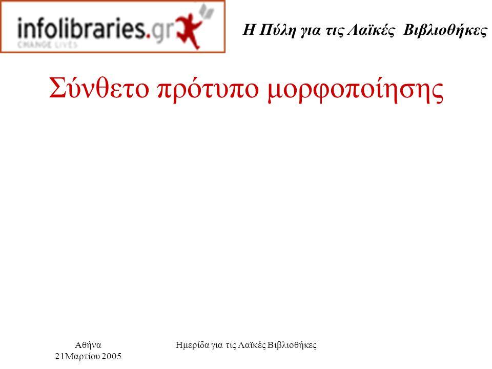 Η Πύλη για τις Λαϊκές Βιβλιοθήκες Αθήνα 21Μαρτίου 2005 Ημερίδα για τις Λαϊκές Βιβλιοθήκες Σύνθετο πρότυπο μορφοποίησης