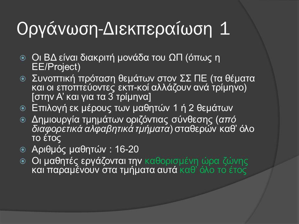 Οργάνωση-Διεκπεραίωση 1  Οι ΒΔ είναι διακριτή μονάδα του ΩΠ (όπως η ΕΕ/Project)  Συνοπτική πρόταση θεμάτων στον ΣΣ ΠΕ (τα θέματα και οι εποπτεύοντες
