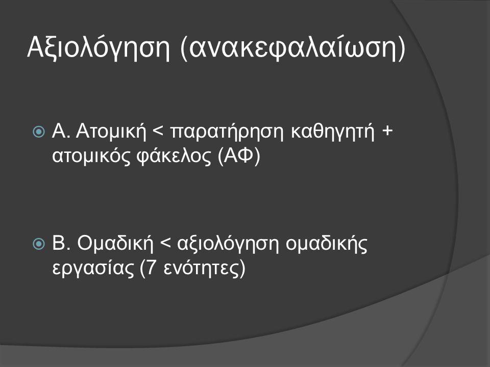 Αξιολόγηση (ανακεφαλαίωση)  Α. Ατομική < παρατήρηση καθηγητή + ατομικός φάκελος (ΑΦ)  Β. Ομαδική < αξιολόγηση ομαδικής εργασίας (7 ενότητες)