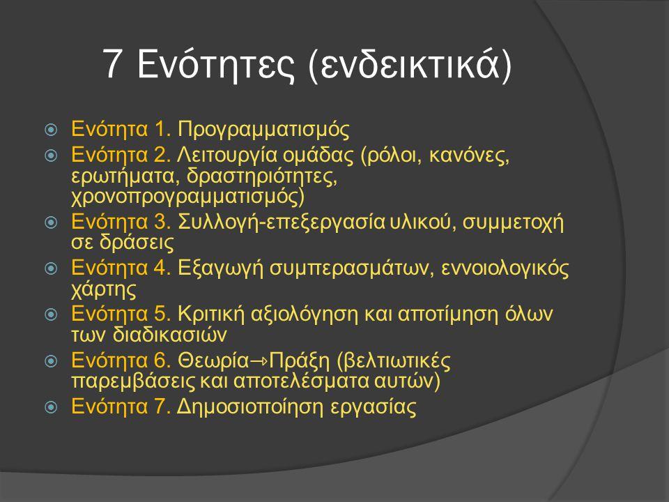 7 Ενότητες (ενδεικτικά)  Ενότητα 1. Προγραμματισμός  Ενότητα 2. Λειτουργία ομάδας (ρόλοι, κανόνες, ερωτήματα, δραστηριότητες, χρονοπρογραμματισμός)