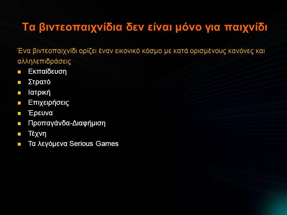 Τα βιντεοπαιχνίδια δεν είναι μόνο για παιχνίδι Ένα βιντεοπαιχνίδι ορίζει έναν εικονικό κόσμο με κατά ορισμένους κανόνες και αλληλεπιδράσεις Εκπαίδευση Εκπαίδευση Στρατό Στρατό Ιατρική Ιατρική Επιχειρήσεις Επιχειρήσεις Έρευνα Έρευνα Προπαγάνδα-Διαφήμιση Προπαγάνδα-Διαφήμιση Τέχνη Τέχνη Τα λεγόμενα Serious Games Τα λεγόμενα Serious Games
