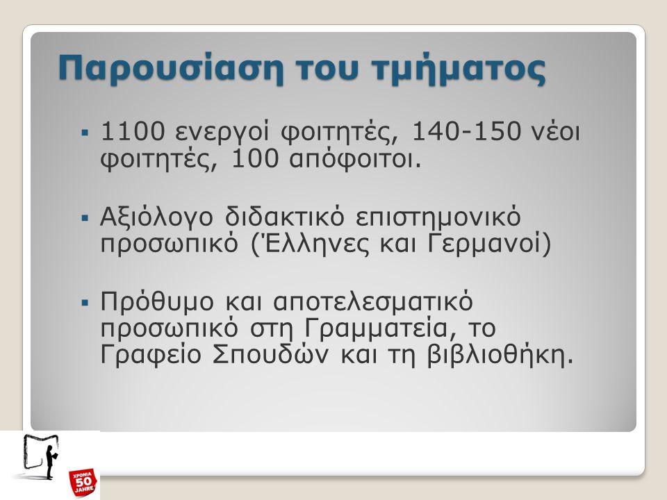 Παρουσίαση του τμήματος  1100 ενεργοί φοιτητές, 140-150 νέοι φοιτητές, 100 απόφοιτοι.