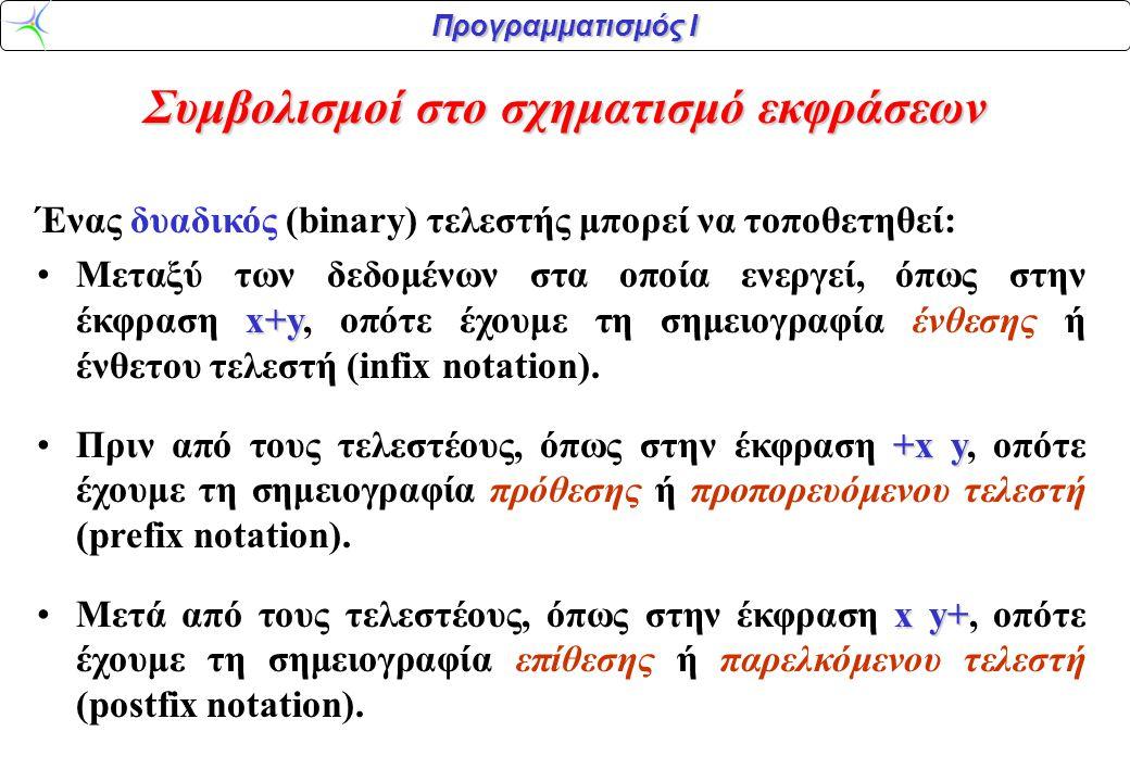 Προγραμματισμός Ι Συμβολισμοί στο σχηματισμό εκφράσεων Ένας δυαδικός (binary) τελεστής μπορεί να τοποθετηθεί: x+yΜεταξύ των δεδομένων στα οποία ενεργε