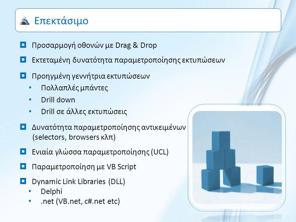 Επεκτάσιμο  Προσαρμογή οθονών με Drag & Drop  Εκτεταμένη δυνατότητα παραμετροποίησης εκτυπώσεων  Προηγμένη γεννήτρια εκτυπώσεων Πολλαπλές μπάντες Drill down Drill σε άλλες εκτυπώσεις  Δυνατότητα παραμετροποίησης αντικειμένων (selectors, browsers κλπ)  Ενιαία γλώσσα παραμετροποίησης (UCL)  Παραμετροποίηση με VB Script  Dynamic Link Libraries (DLL) Delphi.net (VB.net, c#.net etc)