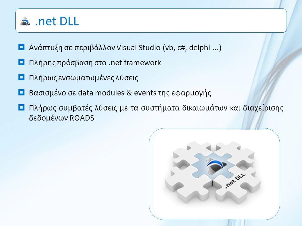 .net DLL  Ανάπτυξη σε περιβάλλον Visual Studio (vb, c#, delphi...)  Πλήρης πρόσβαση στο.net framework  Πλήρως ενσωματωμένες λύσεις  Βασισμένο σε data modules & events της εφαρμογής  Πλήρως συμβατές λύσεις με τα συστήματα δικαιωμάτων και διαχείρισης δεδομένων ROADS