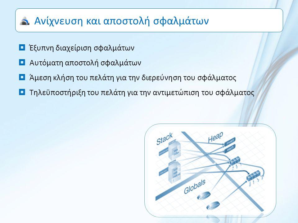 Ανίχνευση και αποστολή σφαλμάτων  Έξυπνη διαχείριση σφαλμάτων  Αυτόματη αποστολή σφαλμάτων  Άμεση κλήση του πελάτη για την διερεύνηση του σφάλματος  Τηλεϋποστήριξη του πελάτη για την αντιμετώπιση του σφάλματος